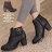 格子舖*【KW2191】MIT台灣製 時尚流行金屬扣環 質感皮革 拉鍊粗高跟短靴 馬丁靴 2色 0