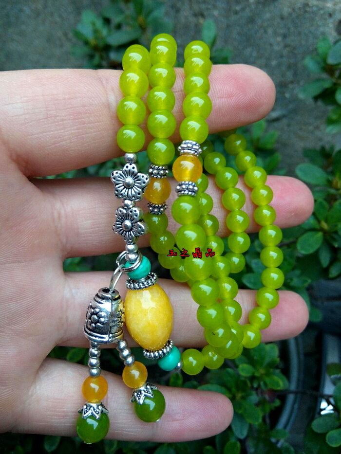 天然水晶  橄欖色玉髓多層多圈手鏈
