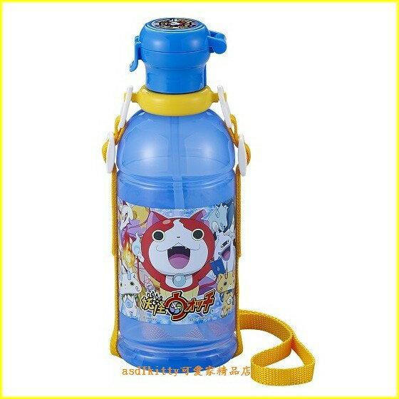asdfkitty可愛家☆妖怪手錶吸管水壺-附背帶-400ml-幼兒園好用-外出郊遊都好用-日本製