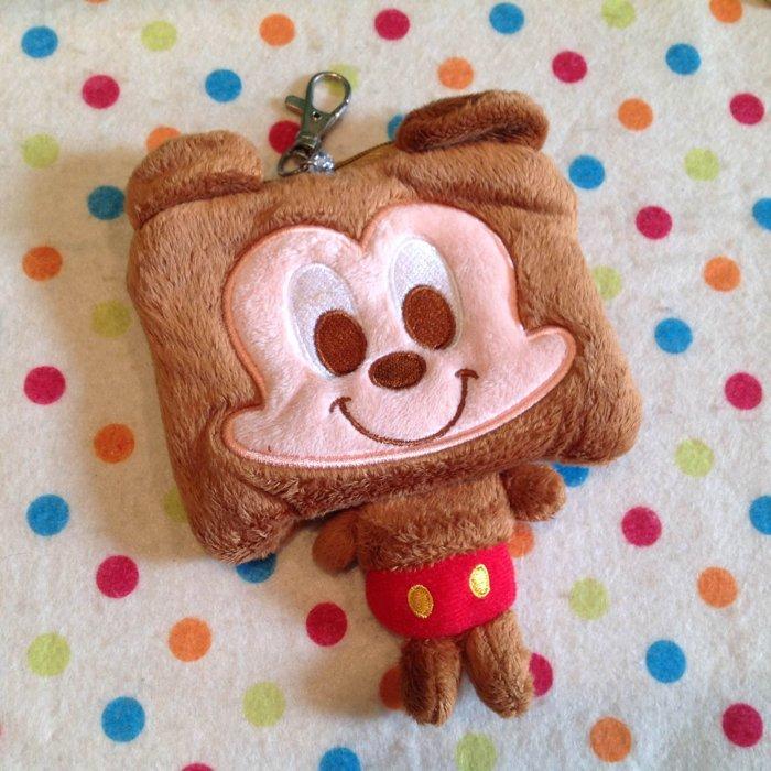 =優生活=【現貨出清】迪士尼米奇方頭造型刺繡自動伸縮卡套 悠遊卡 零錢包 收納包 吊飾