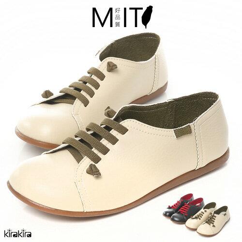 MIT大圓頭撞色假綁帶懶人鞋-預購