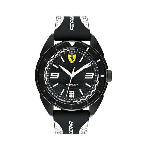 FERRARI輪胎紋大三針橡膠時尚腕錶白0830519