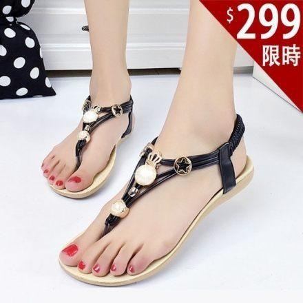 波希米亞涼鞋-新款波希米亞夾趾顯白款平底涼鞋【AN SHOP】