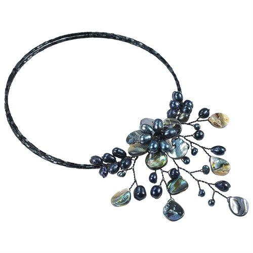 Pretty Black Abalone Shell Flower Ray Choker Wrap Necklace 1