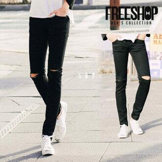 牛仔長褲 Free Shop【QH0256】日韓風格百搭素面黑色刀割破壞刷破造型修身直筒牛仔長褲