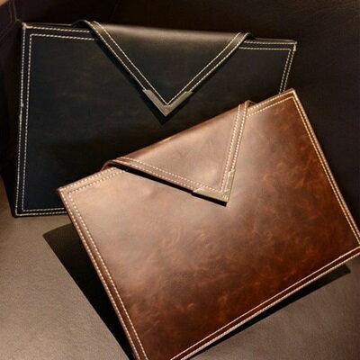 手拿包純色信封包-歐美復古商務公文男包包2色73sd6【獨家進口】【米蘭精品】
