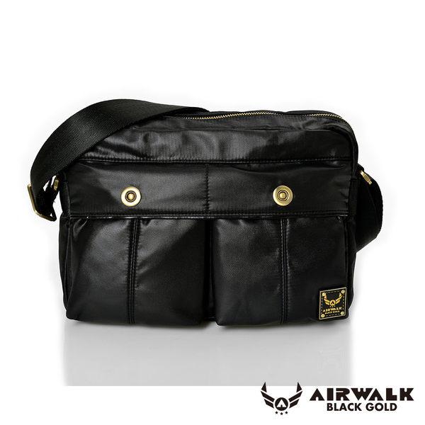 AIRWALK 黑金系列。輕裝騎兵。經典雙前袋側肩包(大)【A331410920】騎士黑【禾雅】