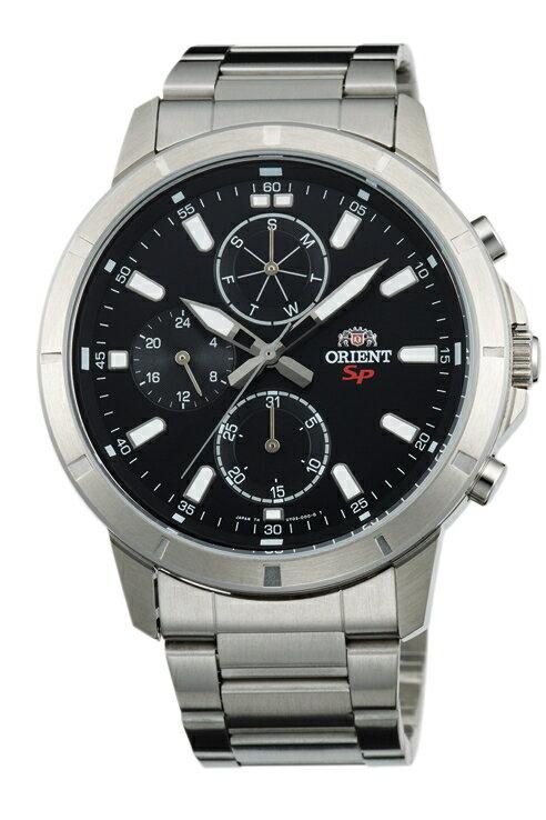 Orient 東方錶(FUY03001B)三眼功能運動石英腕錶/黑面42mm
