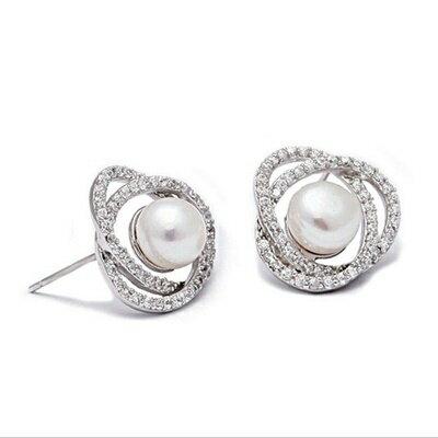 925純銀耳環鑲鑽耳飾~典雅 氣質百搭母親節生日情人節 女飾品73dm194~ ~~米蘭