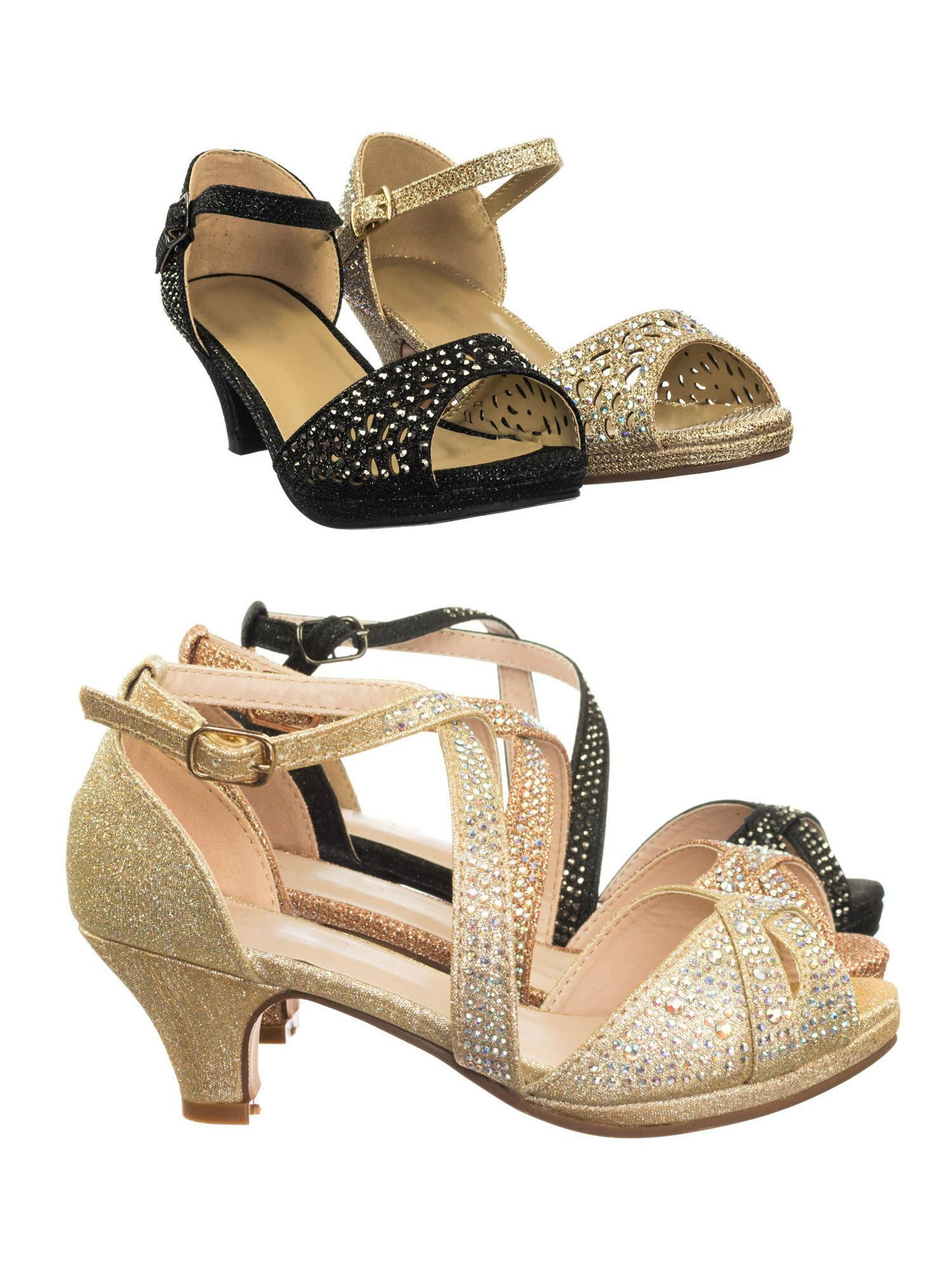 7b938d79b Fantastic 90 Cross Strap Champagne Gold by Forever Link Children Girl Bling  High Block Heel Dress