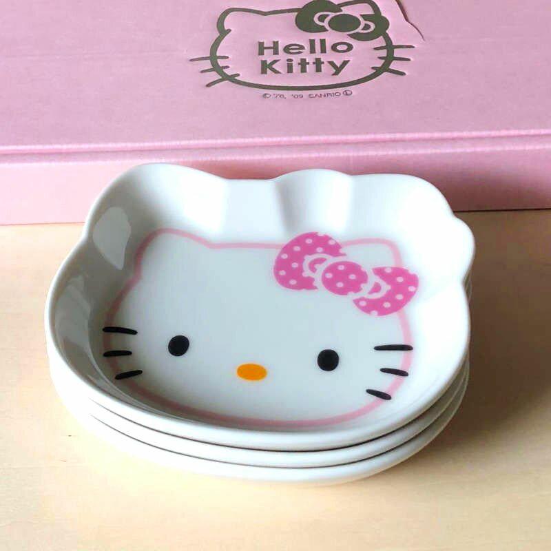 臉型陶瓷盤組 3入-KITTY 凱蒂貓 三麗鷗 Sanrio 日本進口