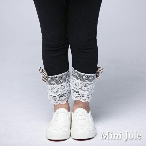 Azio Kids美國派:《MiniJule童裝》內搭褲蕾絲褲腳小熊釦鬆緊內搭長褲(寶藍)