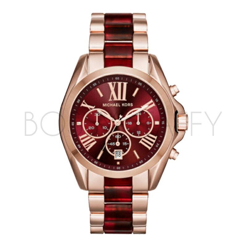MK6270 MICHAEL KORS 玫瑰金酒紅羅馬時尚三眼腕錶 MK手錶