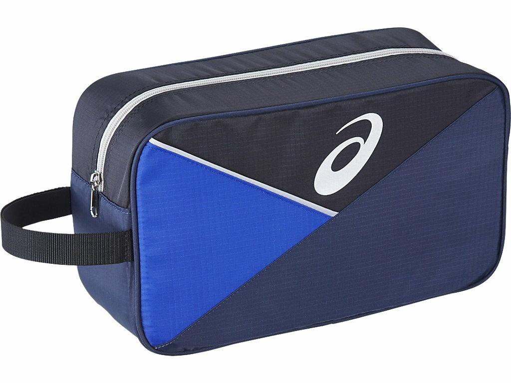 ASICS 亞瑟士 運動必備 鞋袋 方便 不怕髒 拼色 - BES-70-5090 藍X黑 [陽光樂活]