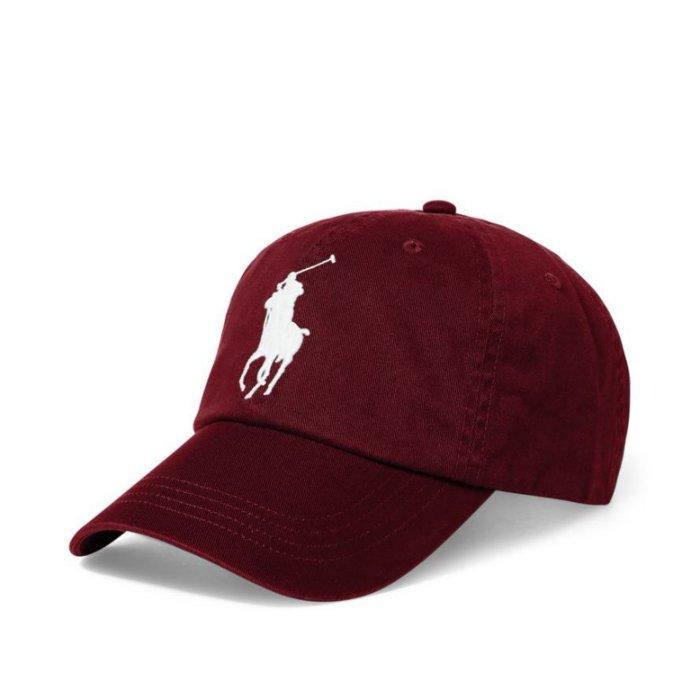 美國百分百【全新真品】Ralph Lauren 帽子 RL 配件 棒球帽 Polo 大馬 男 遮陽帽 白馬酒紅 I286