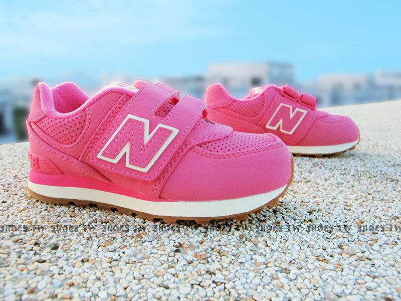 《下殺7折》Shoestw【KV574HKI】NEW BALANCE 574 童鞋 運動鞋 小童 草莓粉紅白