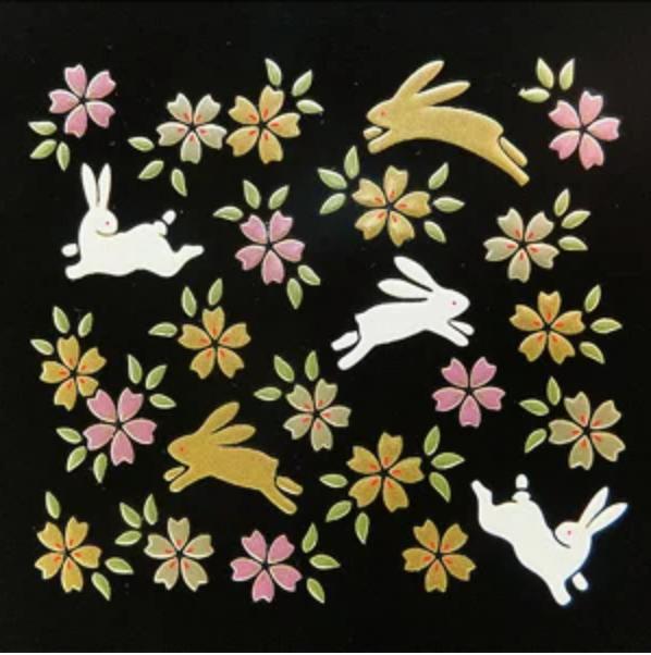 日本金澤 金箔 蒔繪 貼紙  花和兔 日本直送 0