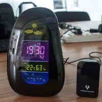 【 樂客生活 】鵝卵石天氣預報鐘感應溫濕度 氣象萬年曆時鐘LED氣象電子鬧鐘生日禮物贈品
