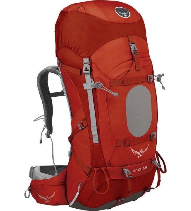 【鄉野情戶外專業】 Osprey |美國| Ariel 55 登山背包 女款/重裝背包 自助旅行/Ariel55 【容量55L】-硃砂紅S