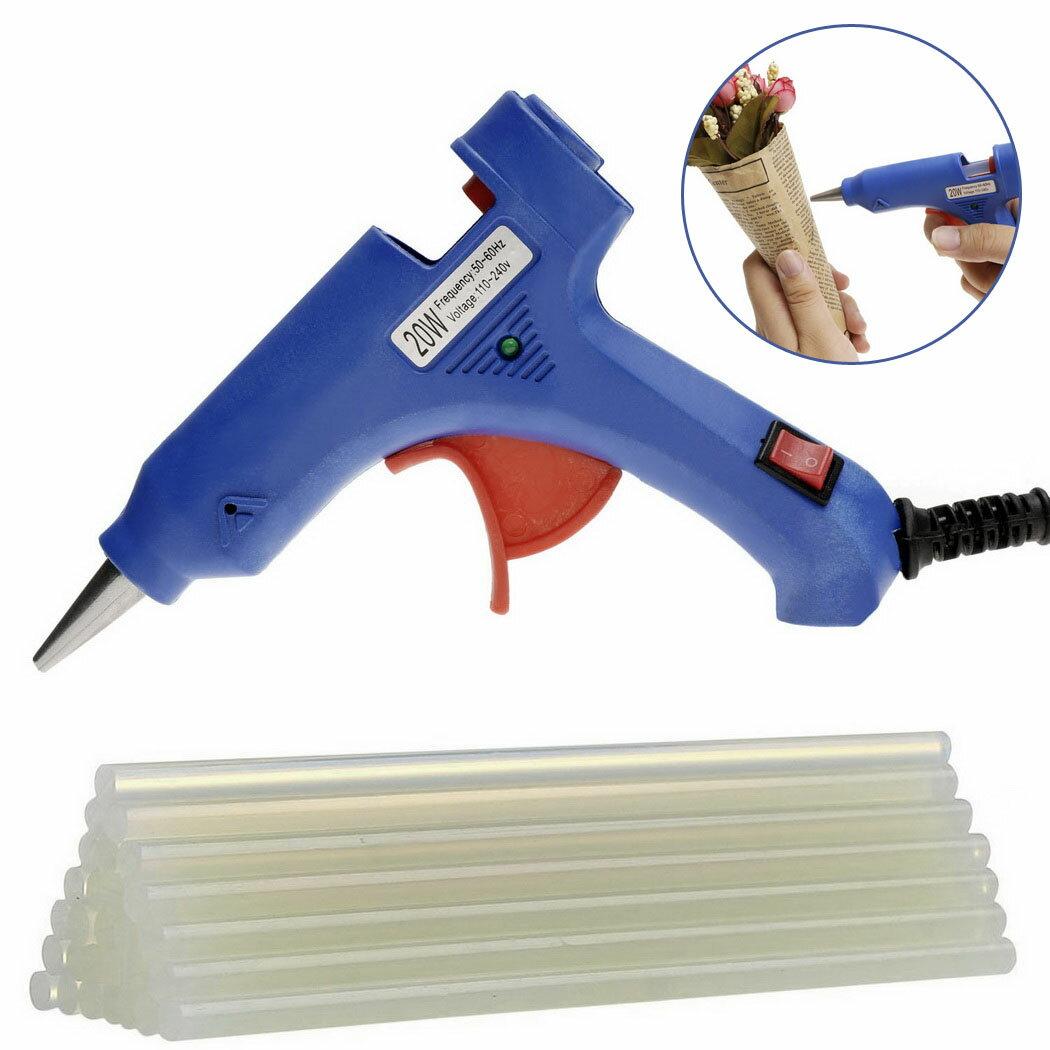 20W Mini Electric Hot Melt Glue Gun Blue with 25pcs Melt Glue Sticks US Plug 0