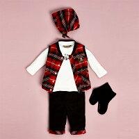 彌月禮盒推薦【金安德森】寶寶禮盒-三件式格子背心套裝(紅色) (彌月禮盒)
