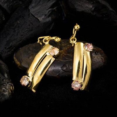 純銀耳環鍍18K金鑲鑽耳飾~高貴精美大方生日情人節 女飾品73cx67~ ~~米蘭 ~