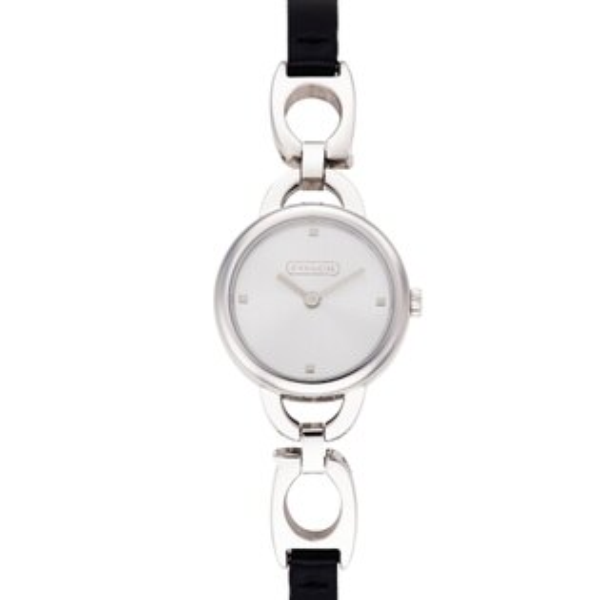COACHKristin鏤空造型時尚女錶-黑皮帶