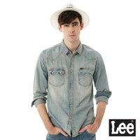 Lee 牛仔長袖襯衫-淺漂藍-男款-Lee Jeans tw-潮流男裝推薦