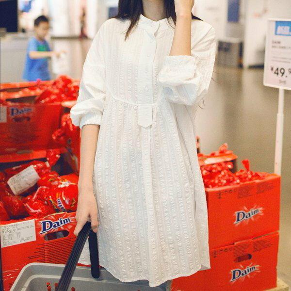 *漂亮小媽咪*韓國落肩押花九分長袖立領襯衫孕婦裝孕婦襯衫洋裝長版襯衫D0205