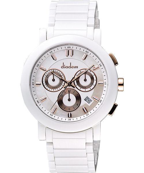 Diadem 黛亞登 8D1407-631RG-W 都會時尚計時陶瓷腕錶/白面41mm