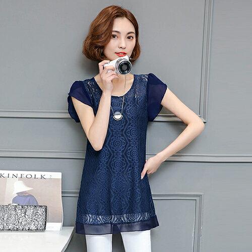 蕾絲雪紡上衣(6色M~4XL)【OREAD】 0