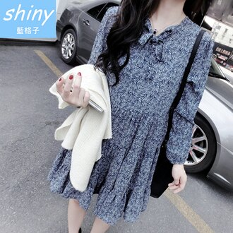 【V0295】shiny藍格子-自然微風.甜美小清新複古碎花長袖連身裙