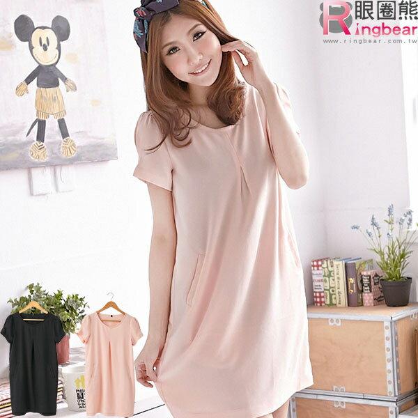 洋裝--優雅氛圍素面壓折造型紗質洋裝(黑.粉M-XL)-D225眼圈熊中大尺碼 - 限時優惠好康折扣