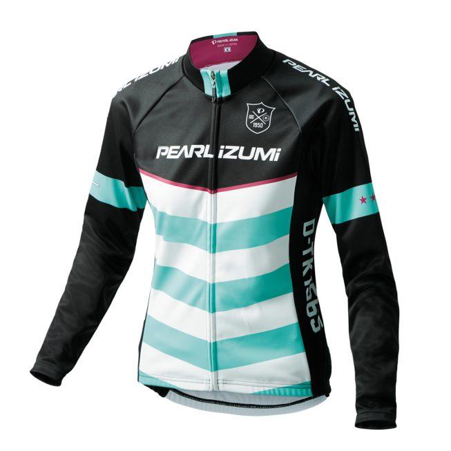 【7號公園自行車】PEARL iZUMi W7455-BL-13 15度女性冬季保暖長袖車衣(黑/白綠)