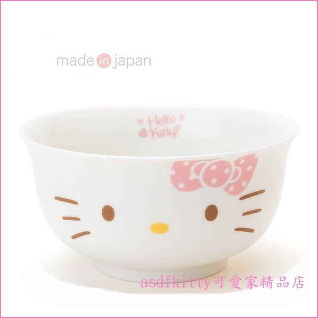 asdfkitty可愛家☆KITTY粉蝴蝶結 美濃燒陶瓷碗公/丼飯碗/磁拉麵碗/蓋飯碗-日本製