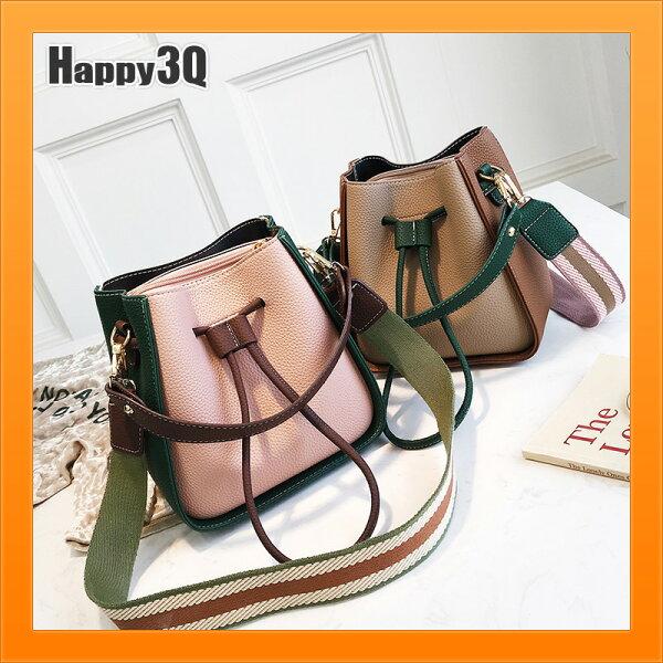 撞色拚色袋子女生大容量通勤袋子束口袋大女生袋子-黑紅粉綠棕黃【AAA4675】
