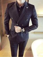 男生面試服裝穿著西裝推薦到FINDSENSE品牌 韓國男 經典條紋雙排扣 小西裝 修身西裝 西裝外套 單件外套就在FINDSENSE服飾推薦男生面試服裝穿著西裝