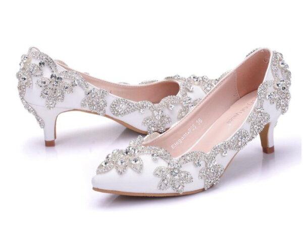 Pyf♥新款華麗銀色婚鞋伴娘鞋水鑽公主鞋宴會高跟鞋43大尺碼婚鞋