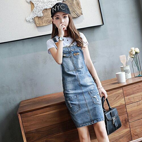 牛仔背帶連身裙(藍色S~2XL)【OREAD】 0