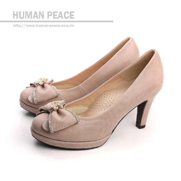 HUMAN PEACE 皮革 舒適 蝴蝶結 高跟鞋 戶外休閒鞋 粉色 女鞋 no178