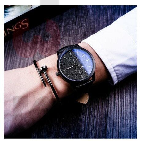 藍光大錶盤 腕錶 情侶對錶 兩色 皮革 合金 石英錶 生日禮物【H84】