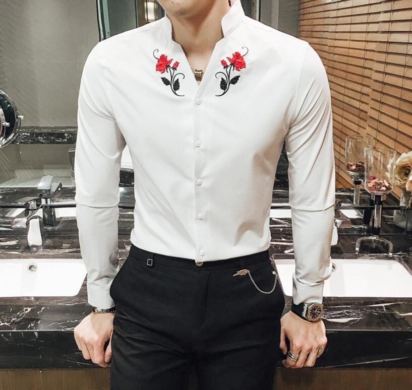 FINDSENSE品牌 男 時尚 潮 薄款 大花朵刺繡圖案 修身 長袖襯衫