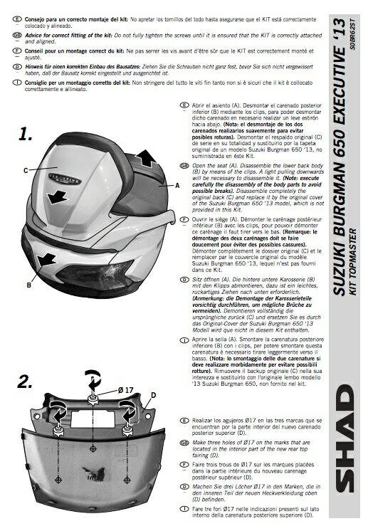 專用後箱支架  SUZUKI 鈴木 BURGMAN 650 2004~19年款 需鑽孔  SHAD 摩斯達公司貨 【老虎摩配】