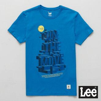 【短T單件390】 Lee 短袖T恤 藍色3D立體文字印刷 -男款(藍色)