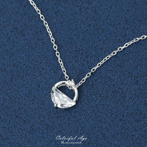 銀飾鑽石鎖純銀項鍊抗過敏特性【NPB110】