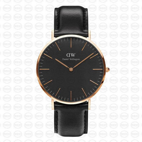 40MM 0127DW 黑錶面 真皮錶帶 瑞典正品代購 Daniel Wellington 對錶手錶腕錶 1