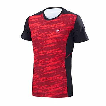 K2TA750162(紅紋X黑)健身房適用 短袖緊身衣 【美津濃MIZUNO】 0