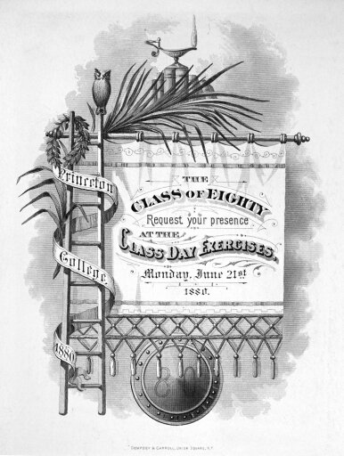 Princeton Commencement Ninvitation Engraving To The Commencement Ceremony For The Princeton University Class Of 1880 Poster Print by (18 x 24) c1b5c64e0acc19f78bdddcf7352c27b6