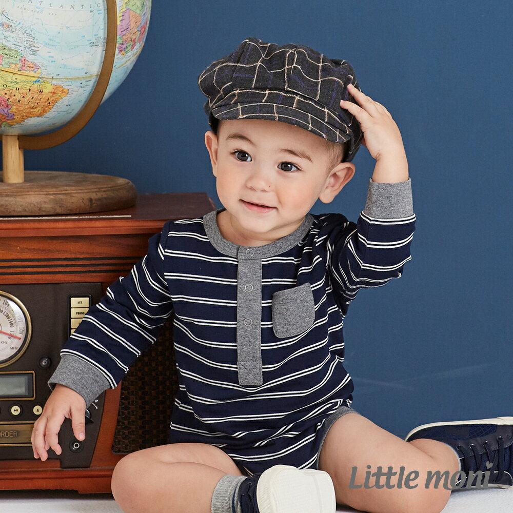 Little moni 條紋包屁衣-深藍 1