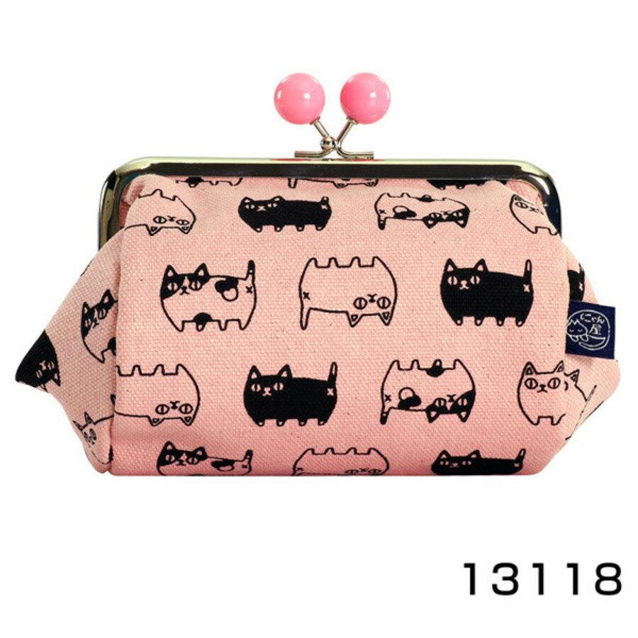 【日本製】貓帆布系列 寬底萬用零錢包 貓咪三兄弟圖案 灰色 - 日本製 貓帆布系列
